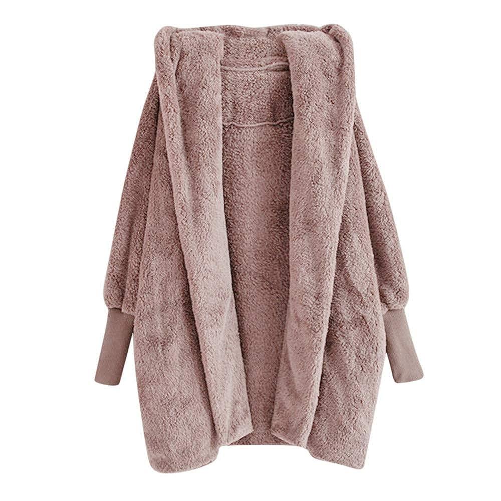 Caopixx Women Outwear Winter Jacket Warm Loose Oversized Long Fleece Jackets Coat Overcoat Plus Size Soft
