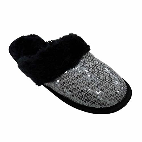 6dfecb92c21 Envision Studio Women Black Silver Sequin Slippers House Shoes Scuff S (5-6)