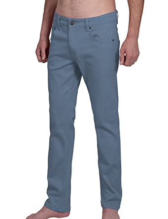 LE3NO Mens Casual Colored Skinny Cotton Twill Pants with Pockets ...
