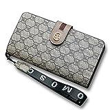 Van Persie Women's Long Bi-fold PU Leather Purse Zipper Card Organizer Fashion Wallet(Grey)