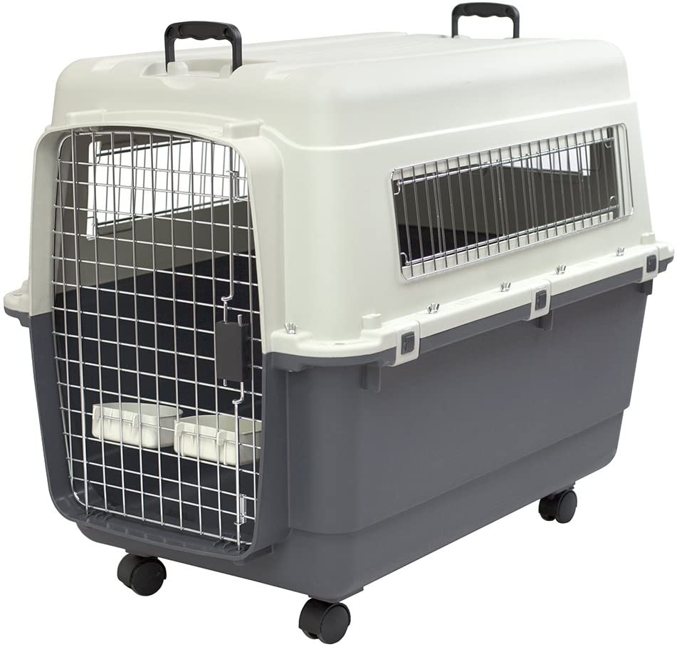Plastic Kennels Rolling Plastic Wire Door Travel Dog Crate