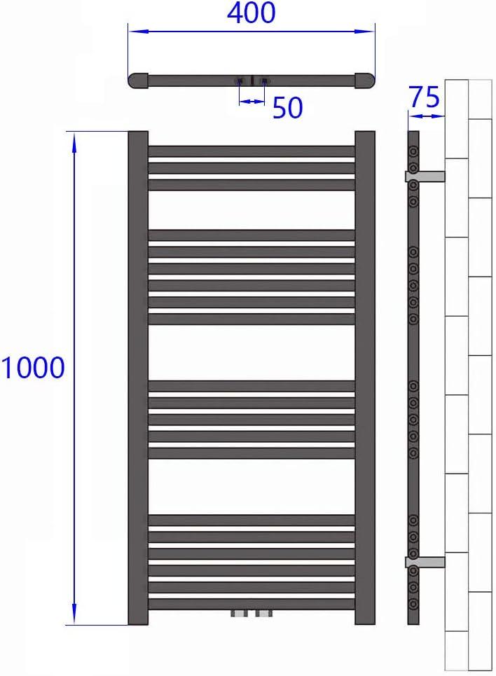 Antrazit 569 Watt Leistung Bad-Heizk/örper Bad Mittelanschluss Heizung Badheizk/örper Handtuchtrockner Heizk/örper 1000x600mm Horizontal Rohrdurchmesser: 22mm