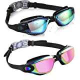 Aegend Swim Goggles, Pack of 2 Swimming Goggles No Leaking Anti Fog UV Protection Crystal Clear Vision Triathlon Swim Goggles