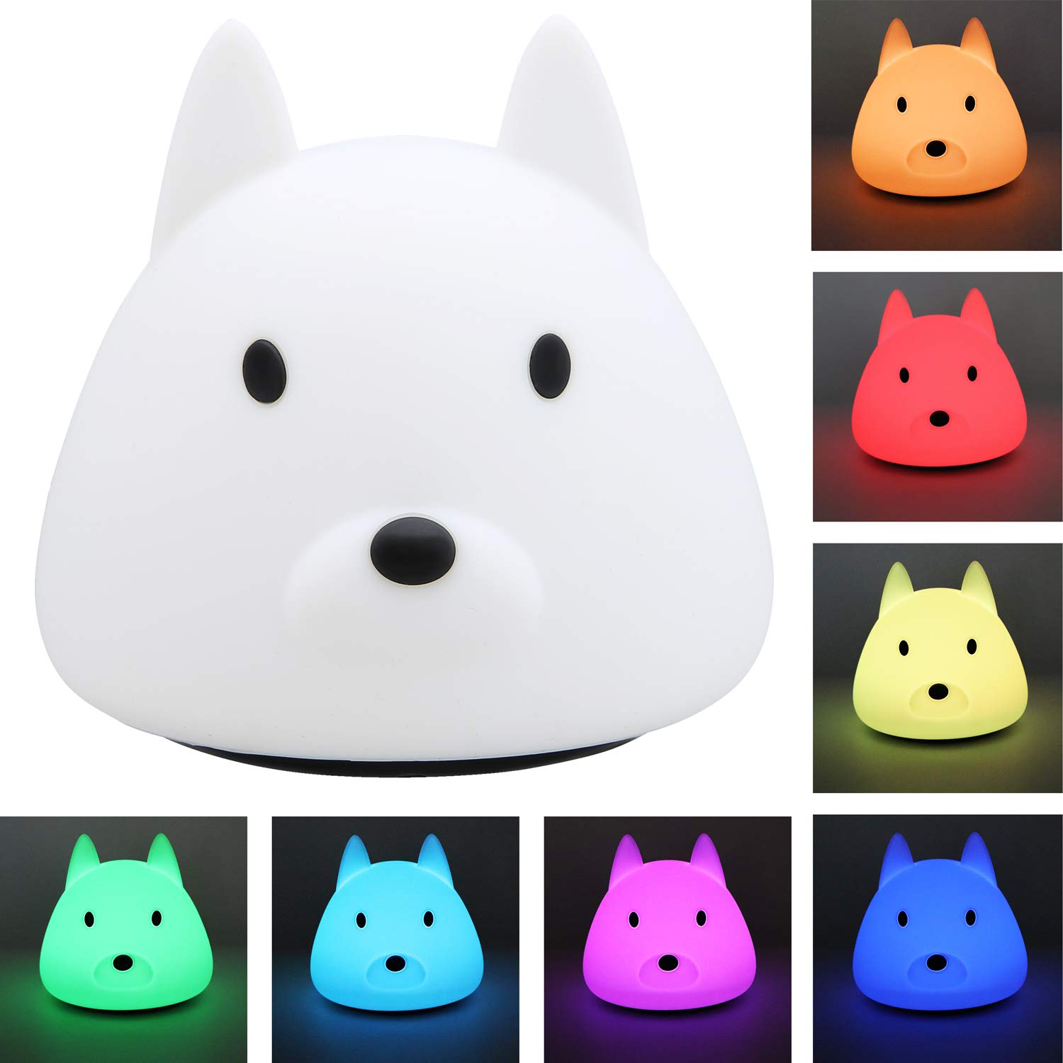 Techway LED Nursery Night Lights for Kids Cute Animal Baby Lamp Silicone Baby Night Light with Touch Sensor Portable Rechargeable Multicolor Breathing Nightlight Birthday Gifts for Bedroom Girls