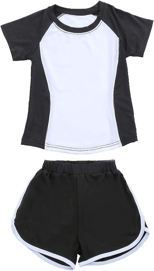Leggings mit Kurzer Hose Schnelltrockend Trainingsanzug f/ür Jogging Training Yoga Echinodon M/ädchen Sport Set 2tlg T-Shirt