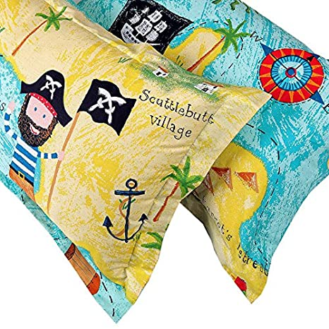 Norson Children's Cartoon Bedding Sets/Kids Bedding Set/Pirates Bedding Sets/Cotton Bedding Sets Boys/3pcs/4pcs/Twin/Queen (Queen) NSDPSDSD