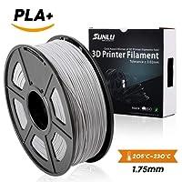 SUNLU 3D Printer Filament PLA Plus Silver, PLA Plus Filament 1.75 mm,Low Odor Dimensional Accuracy +/- 0.02 mm, 3D Printing Filament,2.2 LBS (1KG) Spool for 3D Printers & 3D Pens,Silver