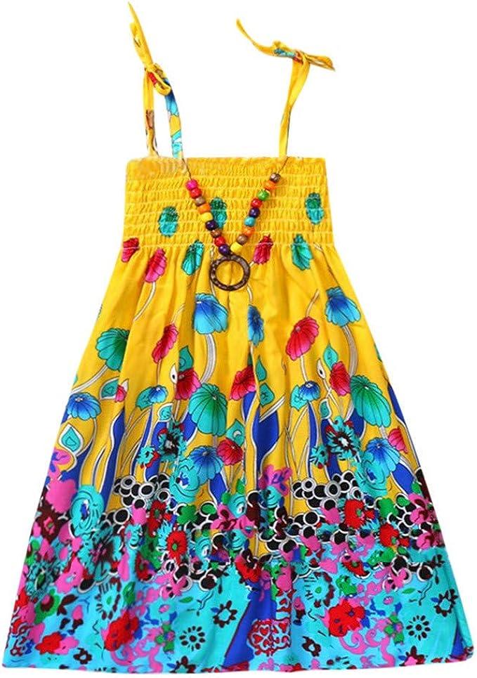 K-Youth® Vestidos Flores para Niñas Vestidos Bohemio Faldas ...