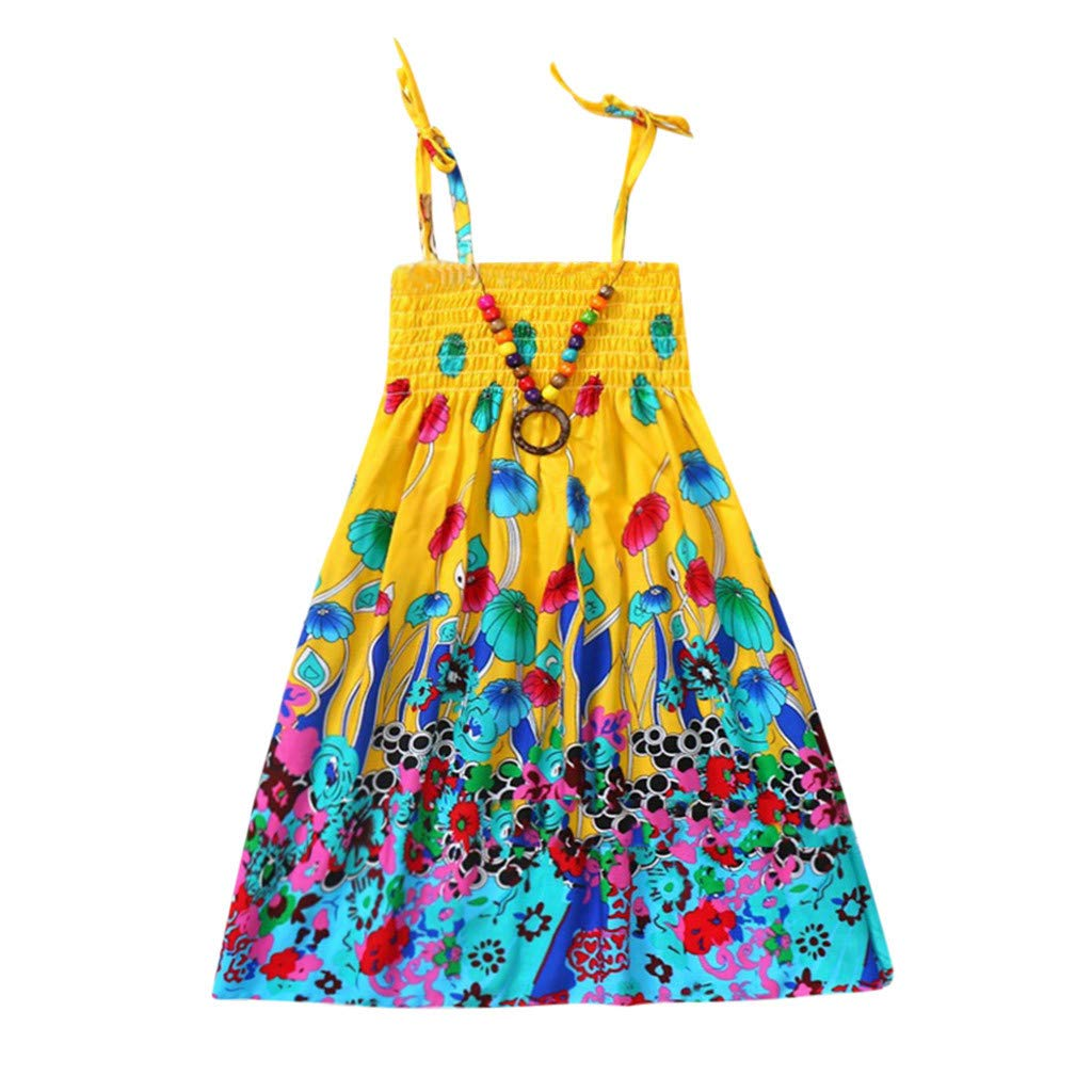 Tank Dress Kids Girls Baby Clothes Floral Bohemian Beach Straps Sling Dress OCEAN-STORE