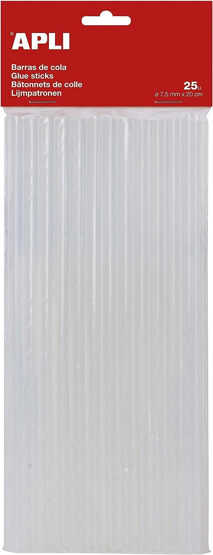 APLI Kids 17003-Recambio barras de cola termofusible Ø 7,5 mm x 20 cm, Transparente, 25 barras