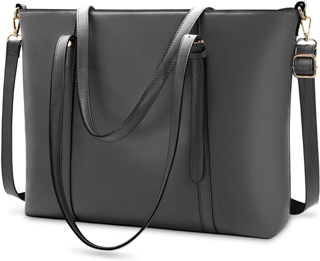 Laptop Bag for Women Lightweight Leather Work Tote Waterproof Business Office School Computer Bag for 15.6 Inch Laptop & Tablet Professional Large Capacity Briefcase Handbag Shoulder Bag Grey