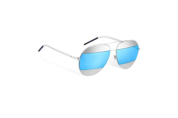 c7a8b00d675 Image Unavailable. Image not available for. Color  Christian Dior Split 1  Silver with blue mirrored lenses ...