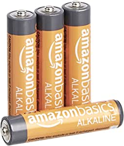 AmazonBasics 4 Pack AAA High-Performance Alkaline Batteries, 10-Year Shelf Life, Easy to Open Value Pack
