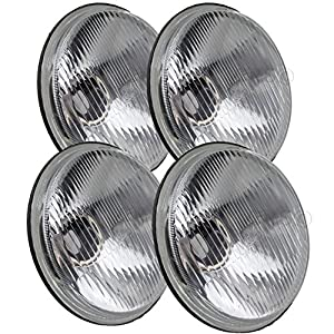 "JC Performance 5-3/4"" Round H4 Conversion Powder Coated Headlight Diamond Replace H5001 & H5006 (4-Pack, Black)"