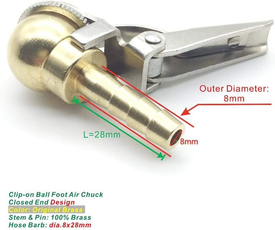 Katurn Reifenventil Chuck 8mm Messing Open Flow Gerade Lock On Air Ventilverbinder mit Clip