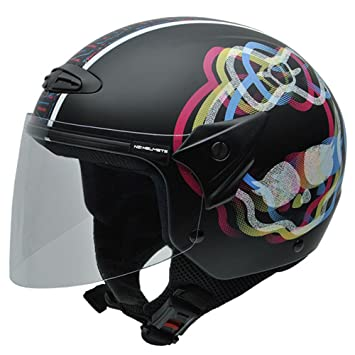 NZI Helix Jr Pop by Monster High Casco de Moto, Negro, 60-61