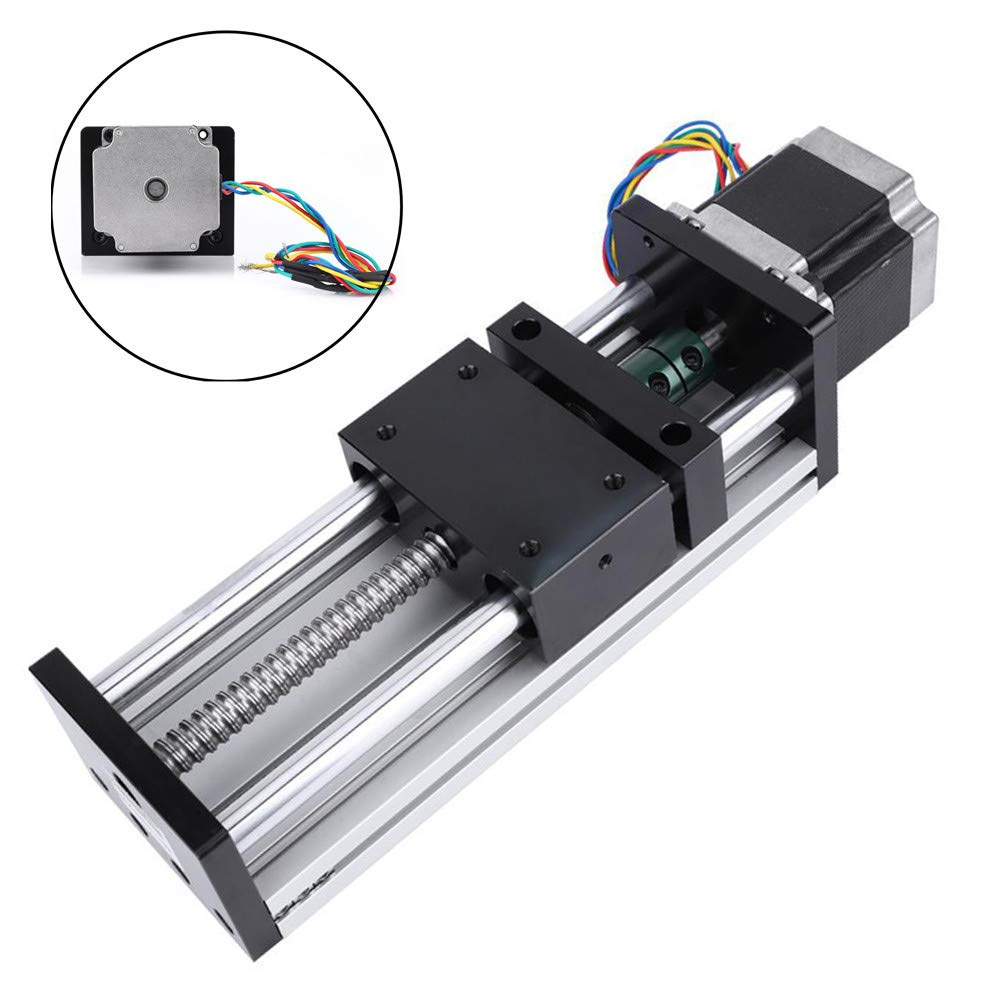 100mm Nema23 Stepper Motor Cable,Sliding Table Rail Linear Motion Guide 1605 Ball Screw Guide 100mm Effective Travel of Precision Manufacturing for Linear Reciprocating Applications