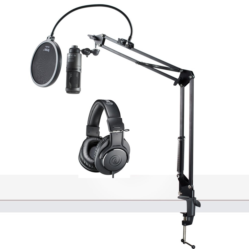 Audio-Technica AT2020USB+ USB Microphone with ATH-M20x Headphones, Knox Boom Arm & Pop Filter