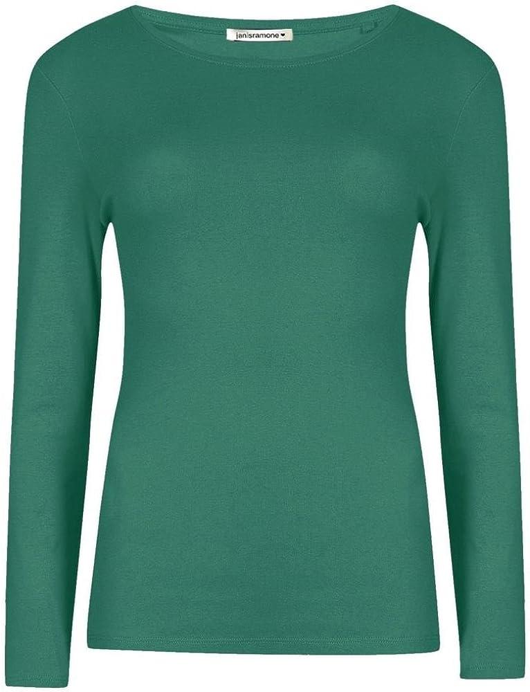 Janisramone Frauen Damen Neu Runden Hals Lange /Ärmel Plain Beil/äufig dehnbar T-St/ück Basic Schlank Passen T-Shirt Oben