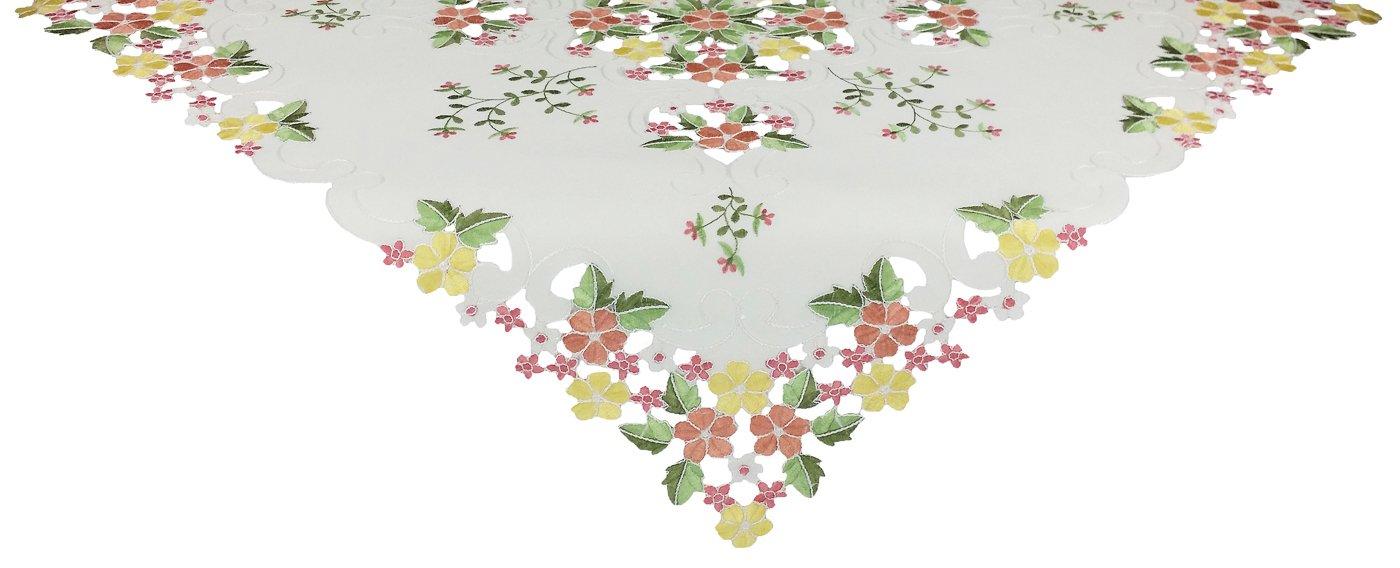 XiaホームFashions Fancy春刺繍カットワーク刺繍花テーブルトッパー、34 by 34-inch、ピンク   B00IOIH6ES