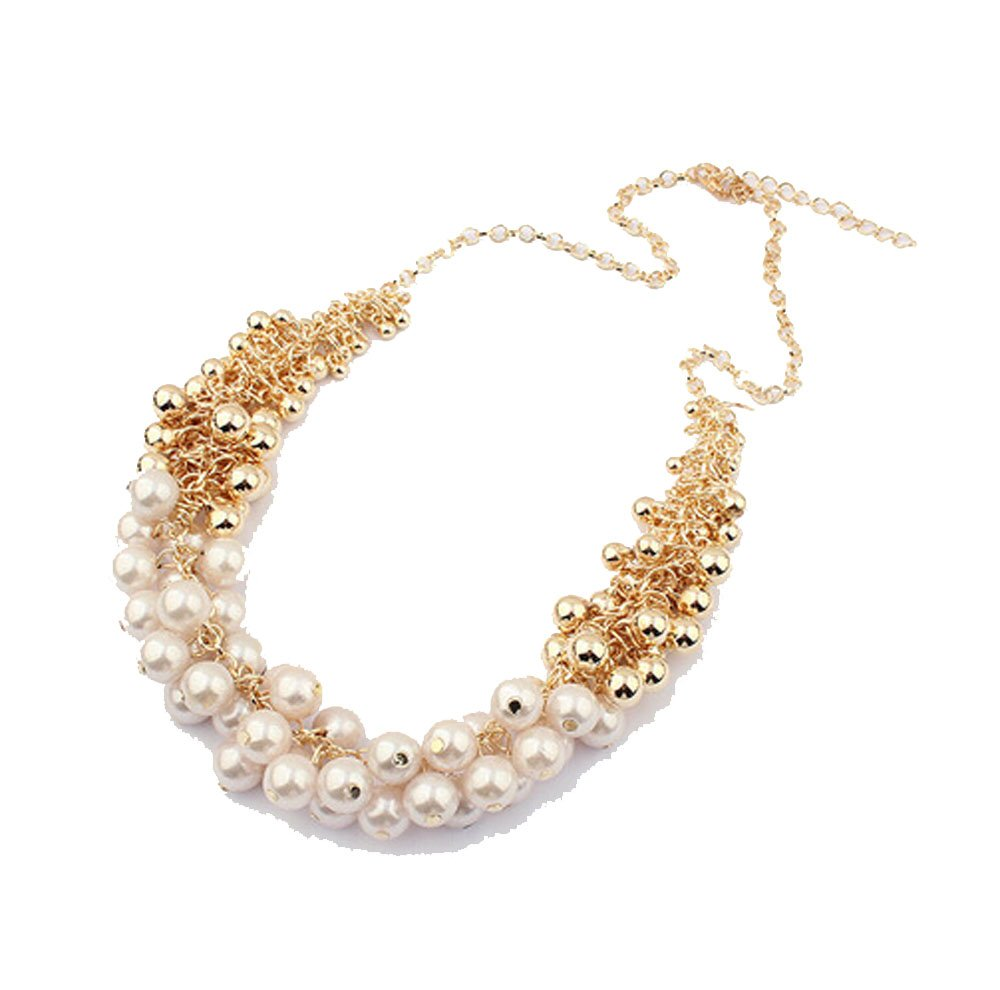 Grenf Fashion Retro Palace White Colour Beauty Artificial Pearl Shine Short Necklace