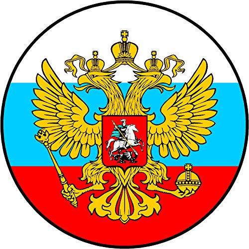 Oval russian eagle over flag 4x4 inches sticker decal die cut vinyl - Made and Shipped in USA