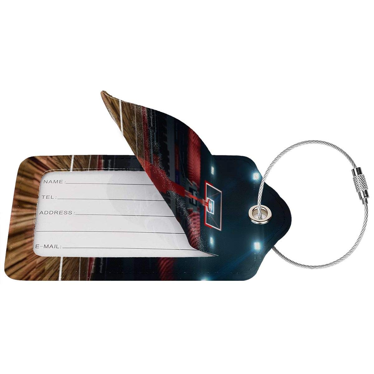 Basketball Court Travel Luggage Tags With Full Privacy Cover Leather Case And Stainless Steel Loop