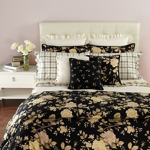 - RALPH LAUREN WINTER ROSE RUFFLED EDGE STANDARD PILLOWCASE SET CREAM/BLACK CHECKED