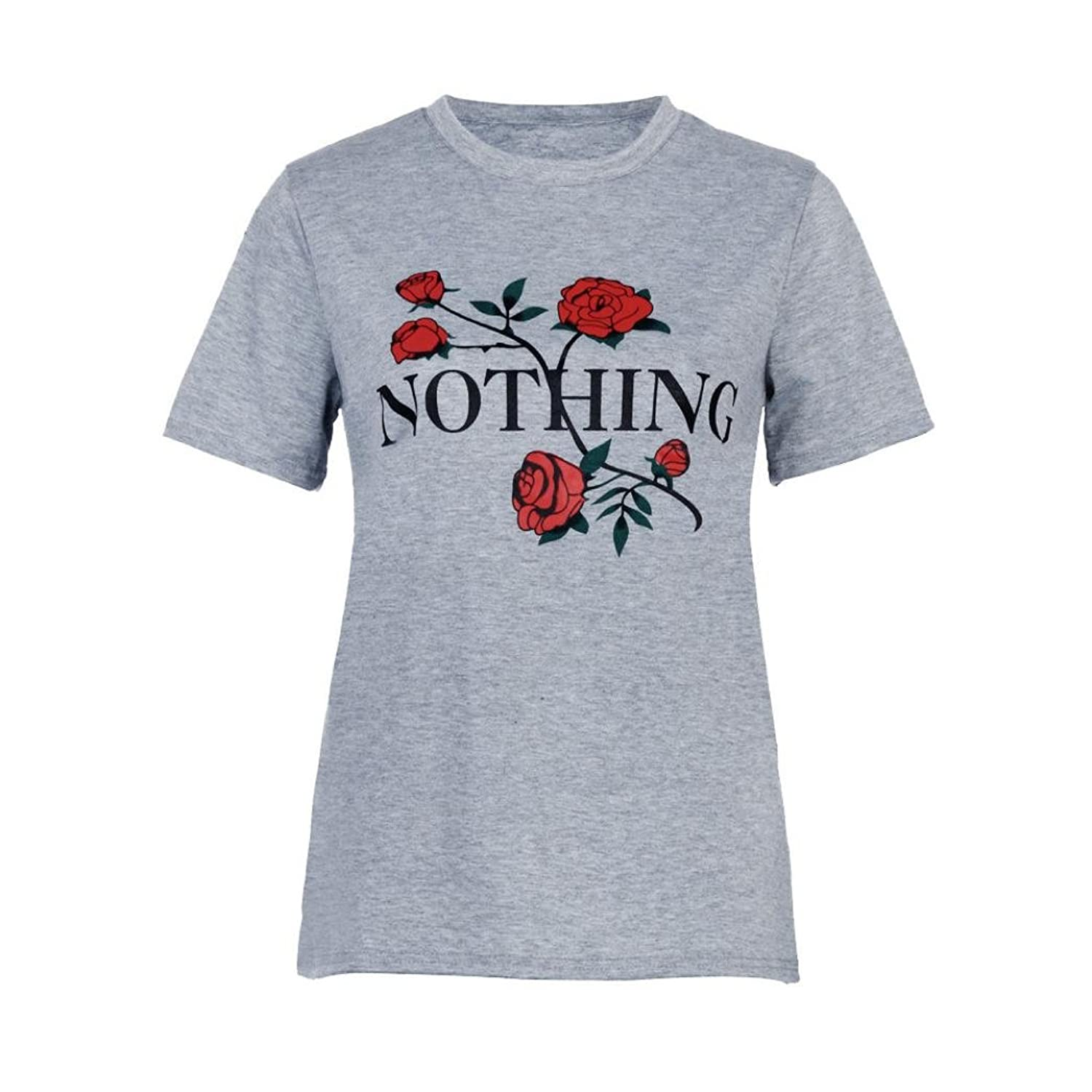 Amazon.com: DondPO Women Nothing Rose Printing Short Sleeve T-Shirt Yoga Tops Casual Blouse Summer Clothes: Clothing