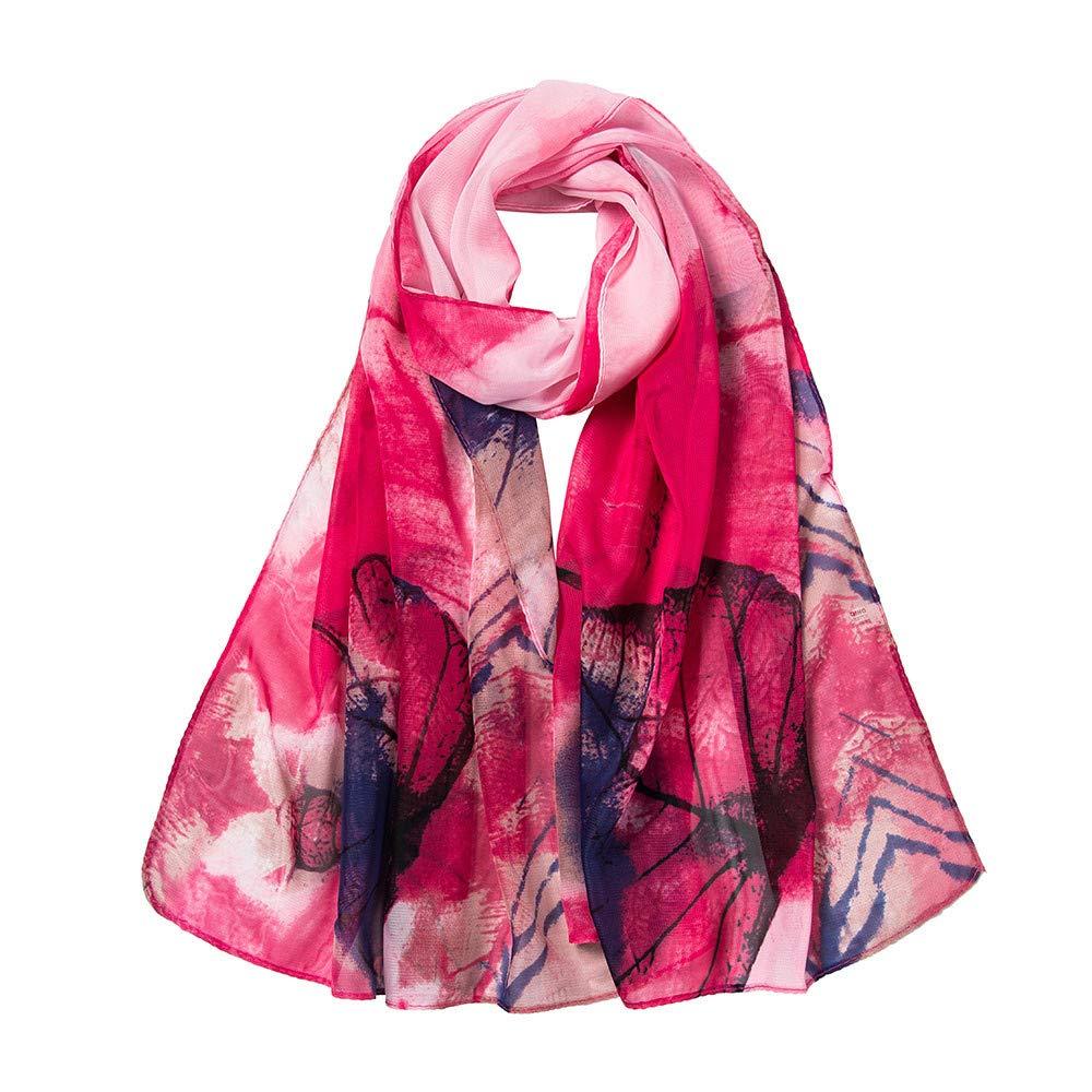 LIULIULIU Fashion Fantasy Women Leaves Printing Long Soft Wrap Scarf Ladies Shawl Scarves (Red)