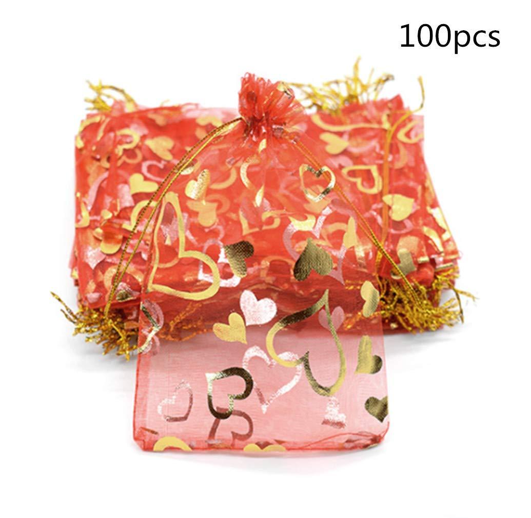 Générique 100 pièces Organza Sacs-Cadeaux, Cordon de Serrage 7x9 cm Mariage Fête Favoriser Sacs de Bonbons Pochettes à Bijoux par SamGreatWorld