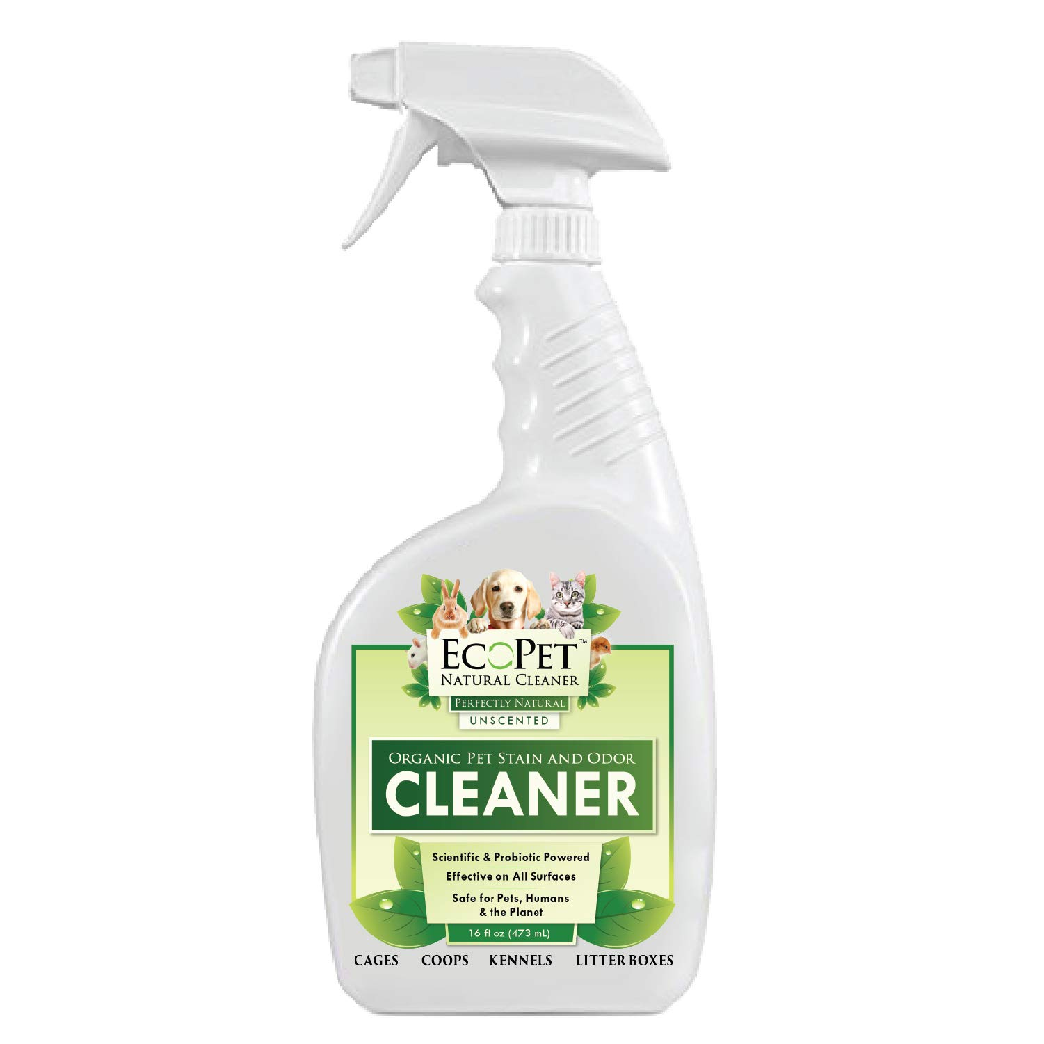 EcoPet Natural Cleaner and Dog Urine Odor Eliminator - Probiotic Powered Multi Surface Pet Odor and Stain Remover - Non-Toxic Dog Carpet Cleaner and Pet Stain Eraser, Unscented, Trigger Spray, 16oz