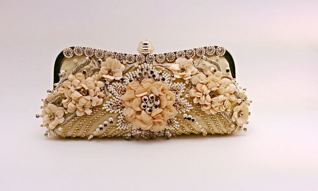Floral pattern with faux pearl and crystal evening bag