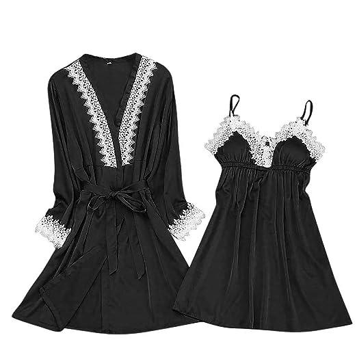 Malbaba-Lingerie Women Silk Lace Robe Dress Babydoll Sleepwear Nightdress  Pajamas Set Black 4c7d602b2