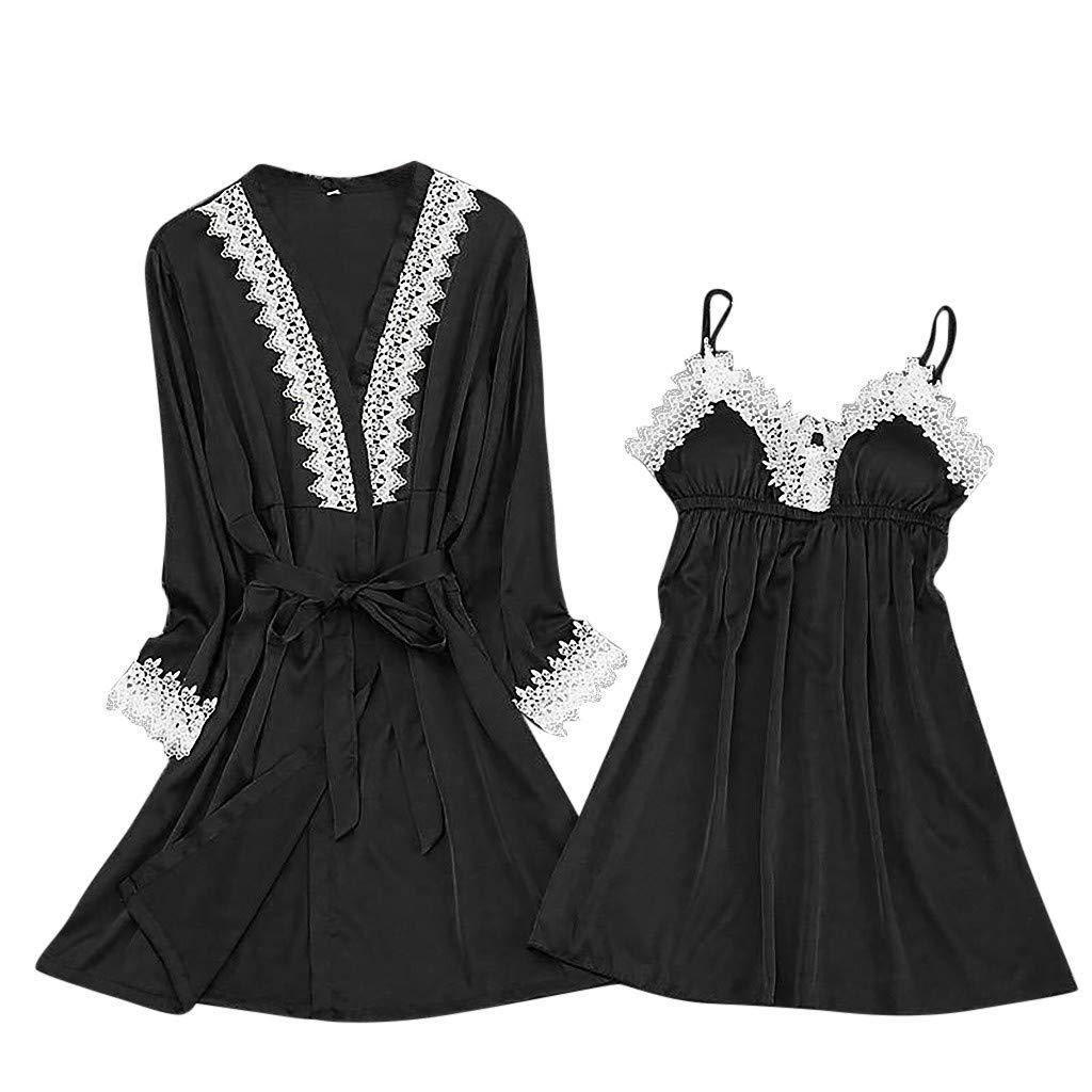 2019 New !Women's Silk Lace Lingerie Robe Dress Babydoll Sleepwear Nightdress Soft Pajamas Set Have a Good Dream (Black, M)