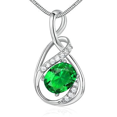 Collier femme avec pierre vert émeraude en argent et diamants