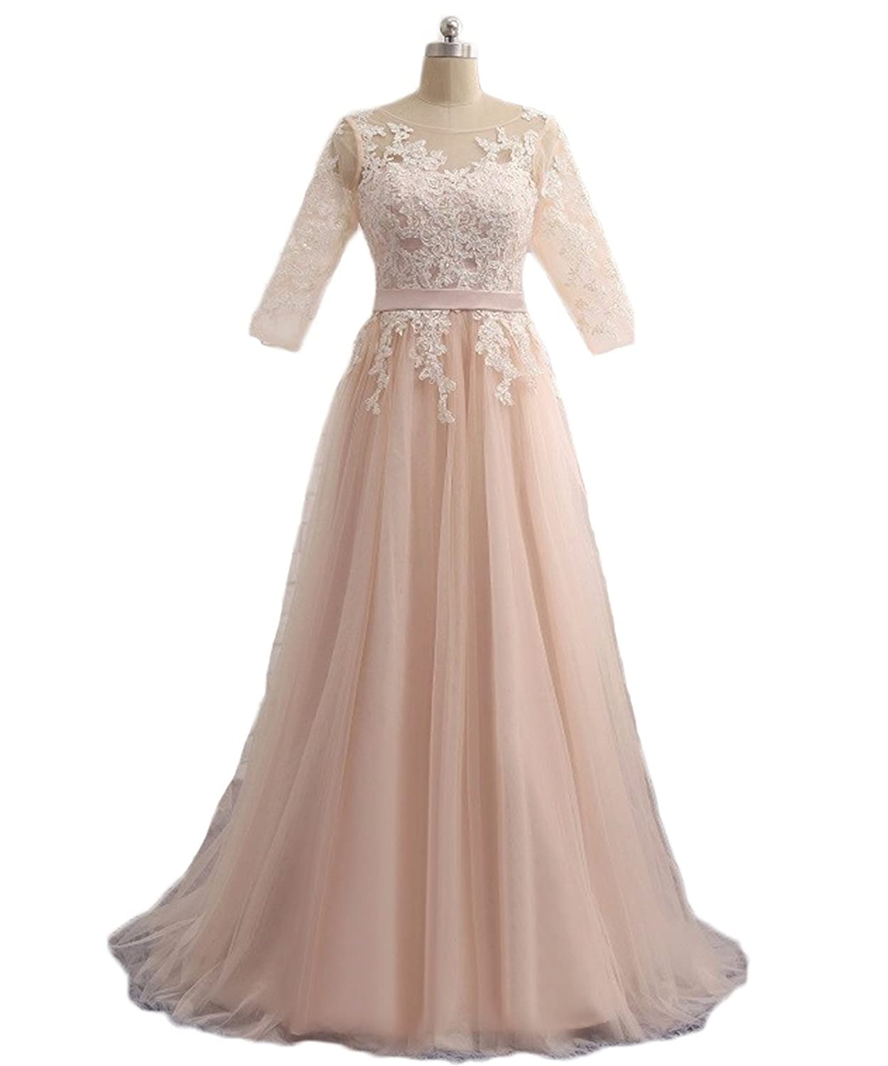 BKSKK Women's Champagne Prom Dress Appliques Half Sleeve Tulle Formal Party Dresses