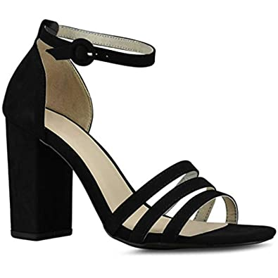 4c9f8faeb1df4 Amazon.com | Premier Standard Women's Ankle Strap High Chunky Heel - Open  Toe Sandal Pump - Formal Party Chunky Dress Heel | Heeled Sandals