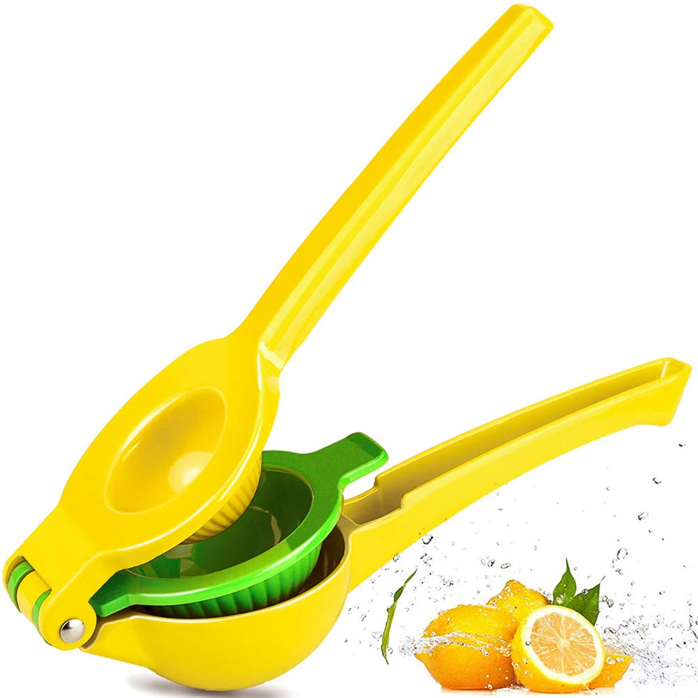 Chefbar Top Rated Premium Quality Metal Lemon Lime Squeezer - Manual Citrus Press Juicer FreshForce Citrus Juicer Aluminum Lime Squeezer Yellow by Chefbar