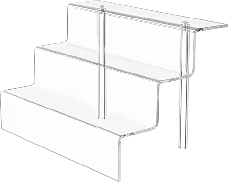 3 Steps Clear Display for Decoration and Organizer MaxGear Acrylic Riser Display Stand Shelf for Amiibo Funko Pop Figure Display 3-Tier 9 x 6 in Countertop Cupcakes Stand for Cabinet