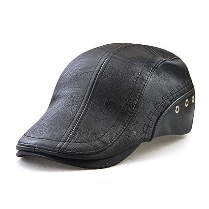 0f3aafab76a Amazon.com  Minim Men Unique Flat Cap Hunting PU Leather Driver Ivy ...