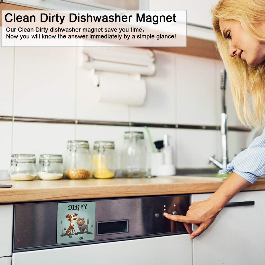 Reversible Flexible Flip Sign 4.7 x4.7 Double Sided Clean Dirty Dishwasher Magnet Waterproof UV Coating Novel Fruit Pattern Design,Kitchen Addition Premium Flip Sign Indicator Fruit