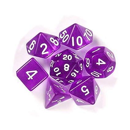 Leoie 7Pcs/Set Translucent Polyhedral Dice Set for Dungeons Dragons Pathfinder D&D RPG (D4 D6 D8 D10 D12 D20 D%) Purple