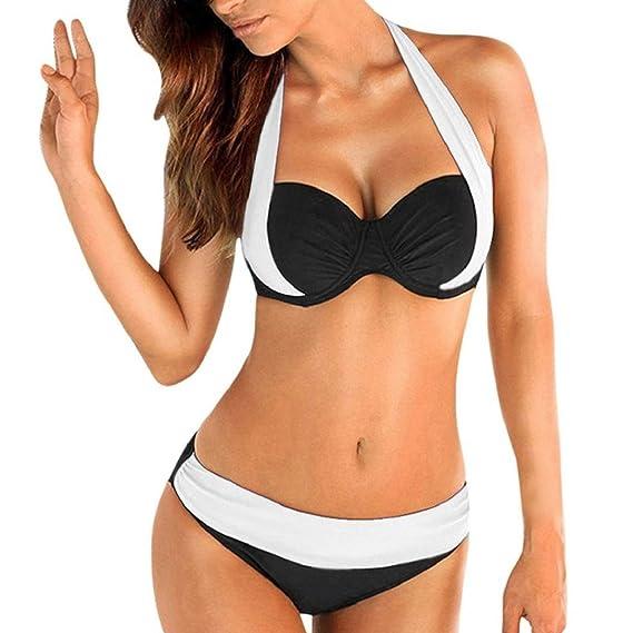heekpek Tops de Bikini Conjunto Las Mujeres Empujan hacia Arriba El Sujetador Adornado Bandeau Bikini de Cintura Baja Traje de Baño Más El Tamaño Sexy Baño ...