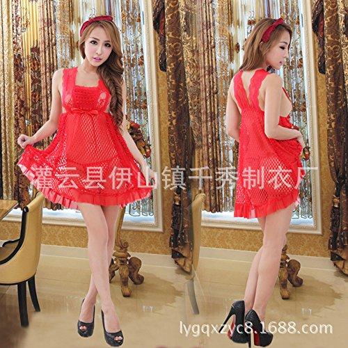ZHFC-Señoras lingerie cordon lleno vestido camisón Mesh Ladies Home rojo negro transparente tentación Rojo De gules