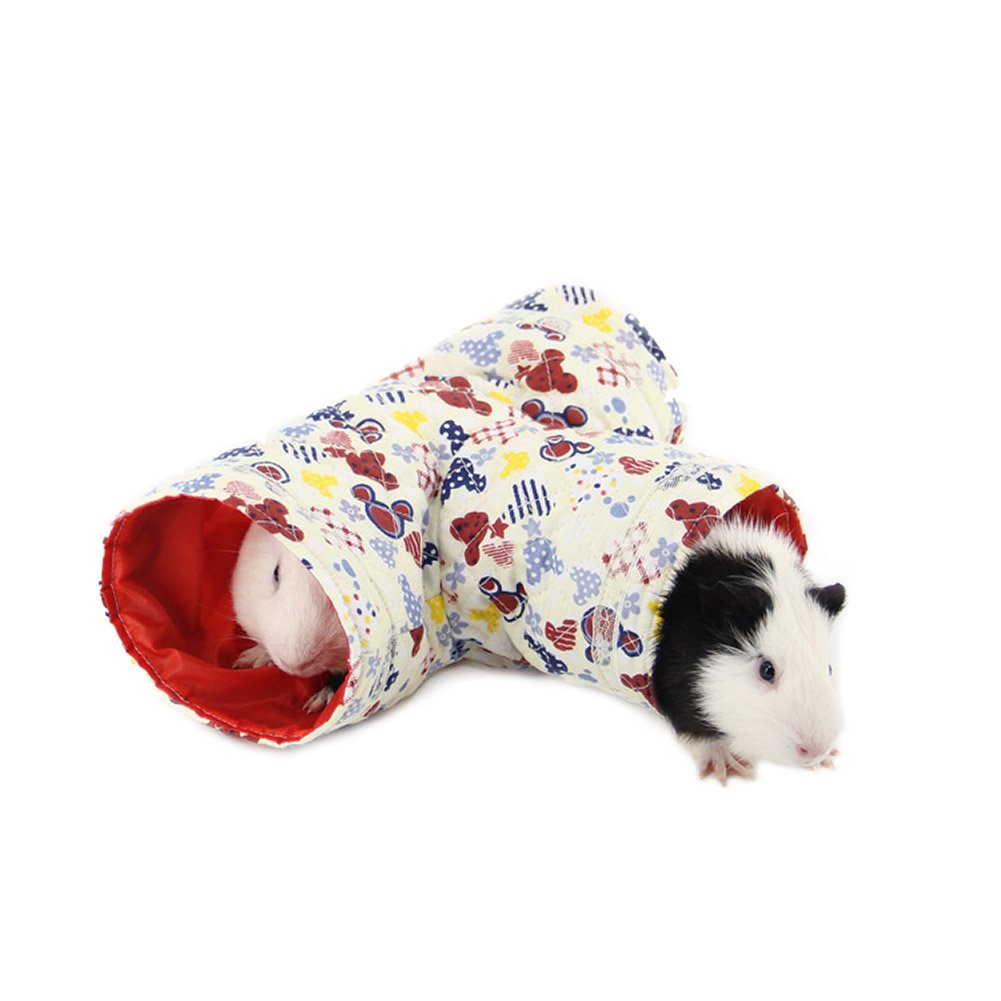 Wildforlife 3 Way Cloth Tunnel Tube Toy Hamster/Hedgehog/Squirrel (White)