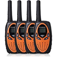 4-Pack Floureon 22 Channel FRS/GMRS 2 Way Radio UHF Handheld Walkie Talkie (Black Orange)