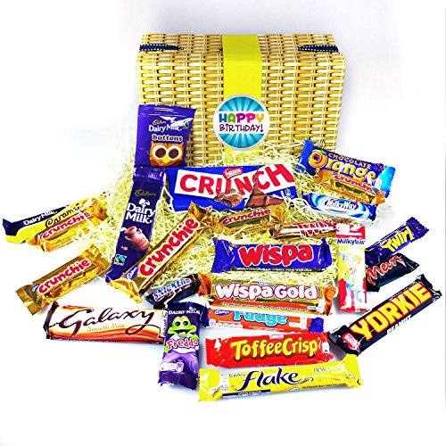 Moreton Gifts Happy Birthday 25 Pieces Mega Chocolate Bar Hamper Box - Full Of The Top Favorite Chocolate Bars Loved By Everyone - The Perfect Birthday Present - By