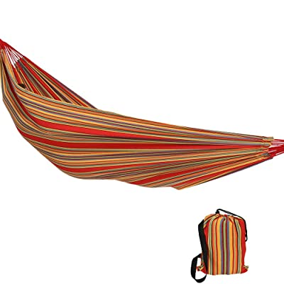 Sunnydaze Double Brazilian Hammock with Carry Bag - Large Two Person Hammock for Backyard & Patio - 450 Pound Capacity - Sunset : Garden & Outdoor