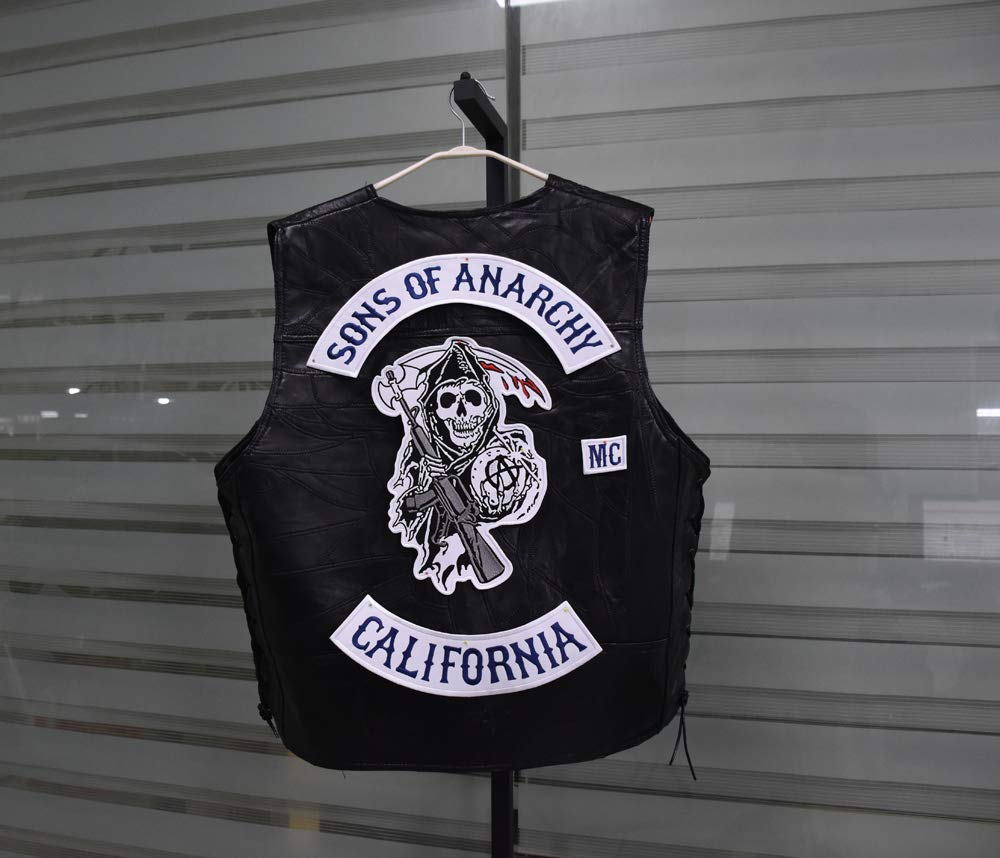 Sons of Patch Anarchy Biker Motorcycle Back Patches Iron On Large Size Embroidered